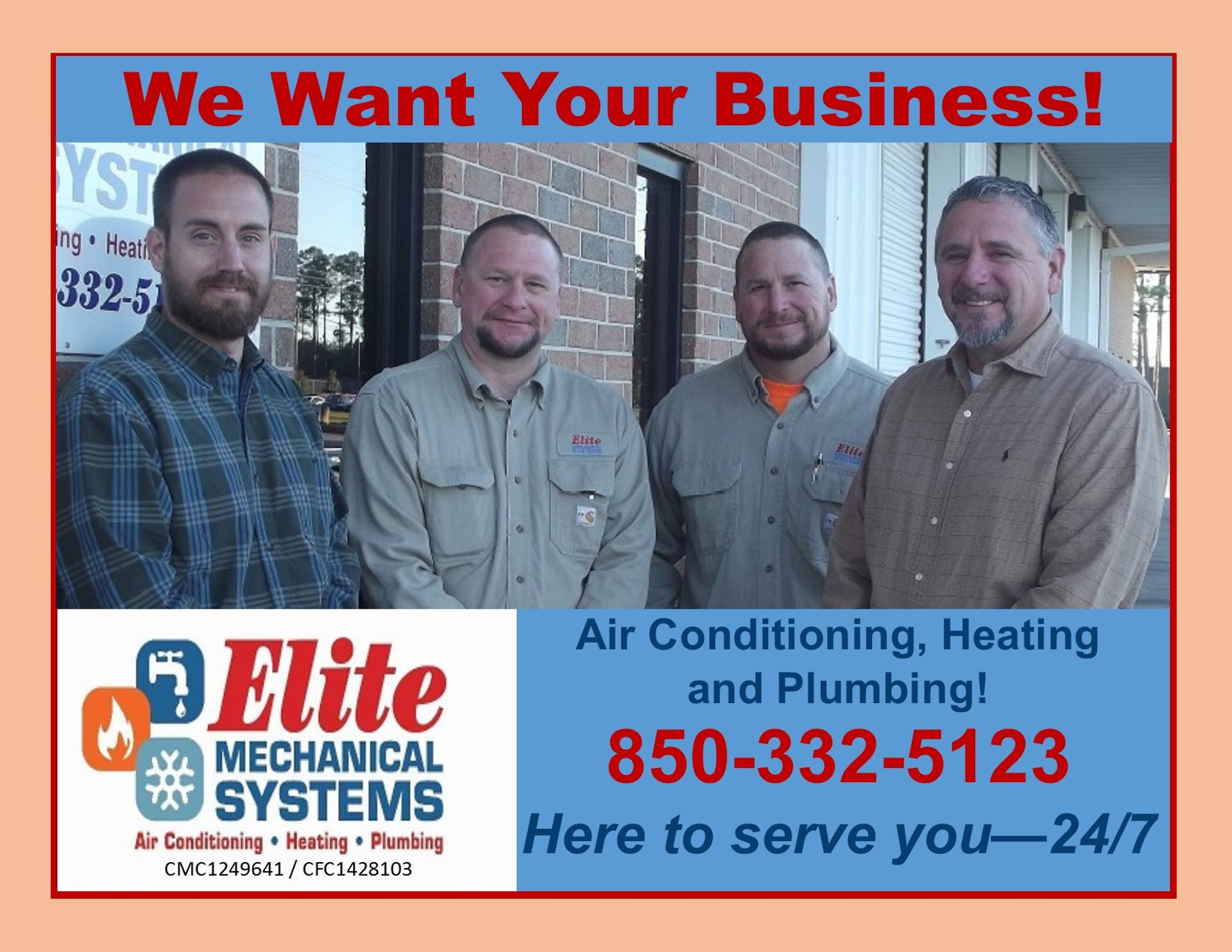 Call Elite Mechanical Today - 850-332-5123